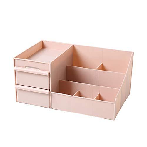 Boîte à Bijoux Sac Cosmétique Multi-Fonction Boîte de Rangement pour la Maison, boîte à cosmétiques, Grande capacité, boîte de Rangement en Plastique, Compartiment Rose 28.3 * 17 * 13 cm, Rose