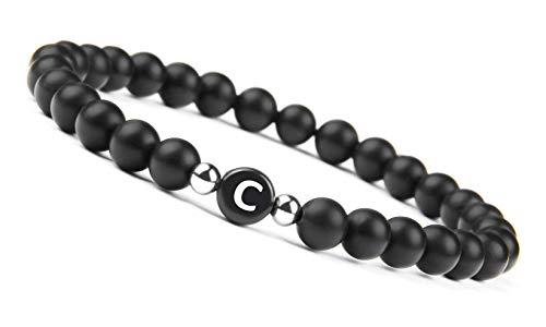 GD GOOD.designs EST. 2015  Pulsera de Perlas de Pareja con la Letra (Regalo para Parejas) Pulsera de la Amistad para 3 (Letra C)