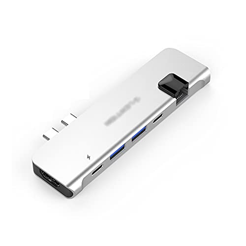 Hub USB USB C Hub 6 en 2 USB C Adaptador multiport USB C Statio de Acoplamiento (100 PD, 4K HDMI, 2 USB 3.0 y USB C, Gigabit Ethernet) Dock Station (Color : Silver)