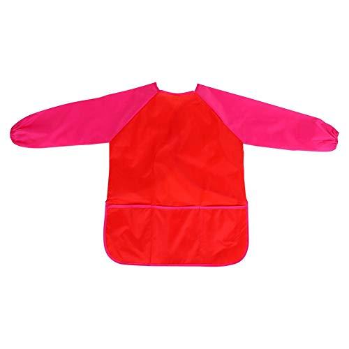 Wasserdichter Bastelkittel - Vobor Bastelschürze mit Tasche für Kinder Kinder Zeichnung Malerei Rot