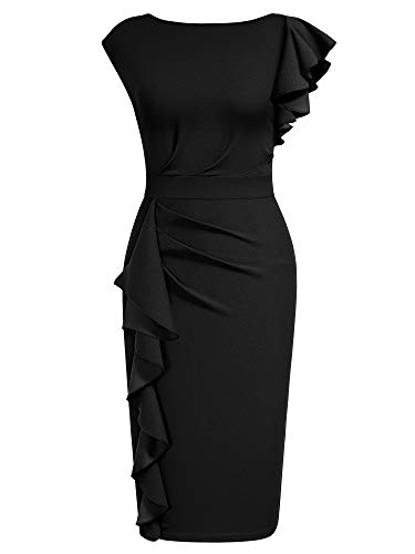 AISIZE Women Pinup Vintage Ruffle Sleeves Cocktail Party Pencil Dress Medium Black
