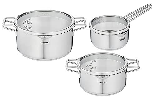 Tefal Nordica - Juego de 3 Ollas + Tapas: 2 Cacerolas de 20/24 cm, Cazo de 16 cm de acero inoxidable, 3 tapas de cristal, tecnología Full Induction, minimalista, todo tipo de cocinas, apto para horno