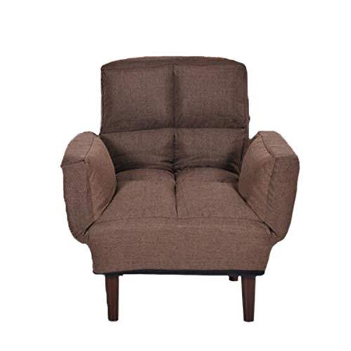 JBHURF Sofá cama perezoso ajustable plegable con sillón, moderno sofá tapizado reclinable, sillón convertible para oficina en casa, fácil de limpiar (color: marrón)