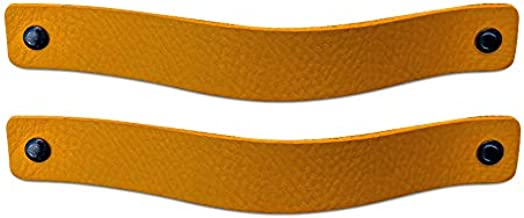 Brute Strength - Leren Handgrepen - Okergeel - 2 stuks - 20 x 2,5 cm - incl. 3 kleuren schroeven per leren handvat voor ke...