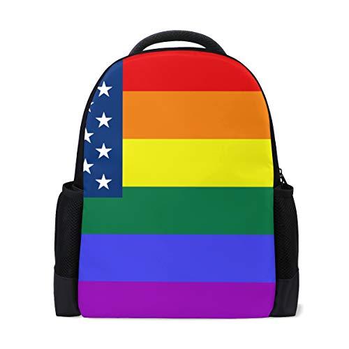 FANTAZIO Mochila American USA Bandera Arcoiris Mochila escolar Daypack