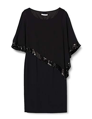 Gina Bacconi Sequin Trim Crepe and Chiffon, Vestido para Mujer, Negro, 40