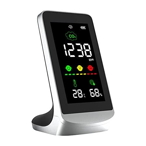 Monitor de calidad del aire, 3 en 1 detector de CO2/temperatura/humedad en tiempo real, pantalla LCD digital USB Powered Detector de escritorio portátil para el hogar, coche, oficina, habitación