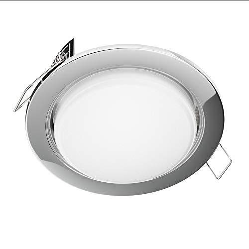 ledscom.de Focos empotrables LED Zobe plano GX53 cromado redondo 6W=38W 420lm blanco 3 pasos de regulación sin regulador con interruptor de luz 107mm Ø círculo de perno 90mm Ø
