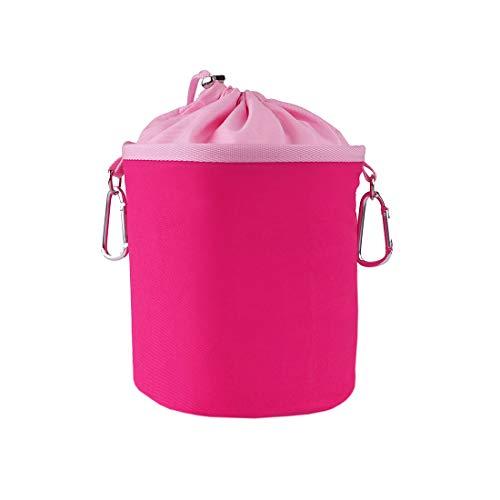 Borsa per mollette da bucato portatile in 100% cotone con due robusti moschettoni, chiusura a cordoncino e fermaporta in metallo per appendere e riporre 150 mollette rosa rosé