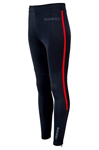 SUNDRIED Herren Leggings Premium-Winter-Base Layer-Sport-laufender Leggings (X-Small, Schwarz)