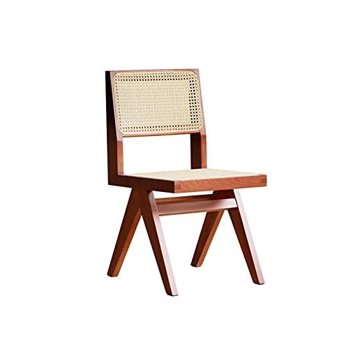 HFVDA Sedia in rattan confortevole, sedia da pranzo in legno massello per il tempo libero, sgabello da pranzo a domicilio, sedia da lettura in sala studio, poltrona da ballo, sedia da camera da letto,