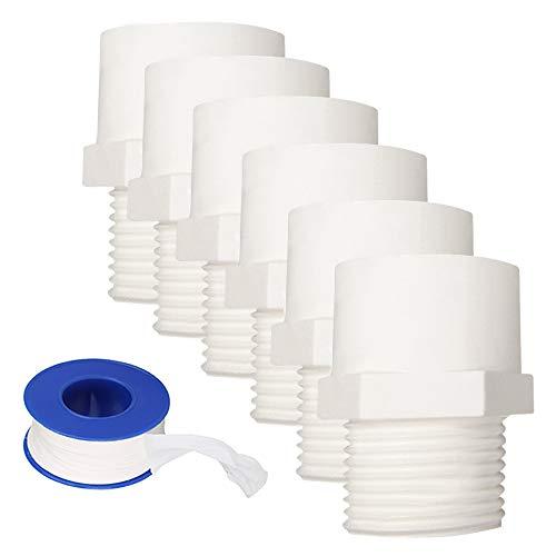 YOFASEN Conectores de tubería de agua, 32 mm - 6 piezas Conector adaptador de accesorios de tubería de rosca macho de PVC + 1 pieza Cinta de sellado de tubería de agua
