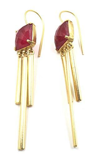 Jewelshingar Jewellery Fine Semi Precious Pink Agate Earrings For Women (53004URVI)