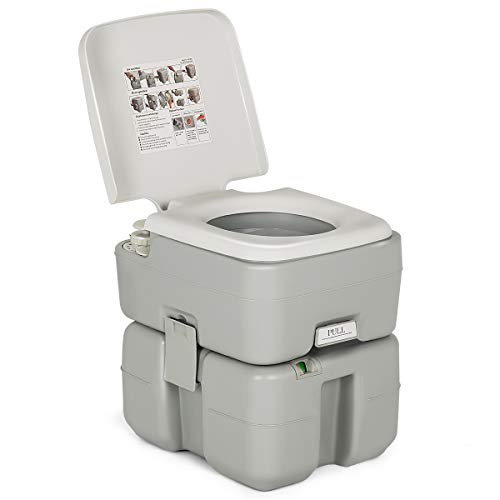 Giantex Portable RV Toilet Camping Travel, Standard 5.3 Gallon Potty Seat Designed for Boating...
