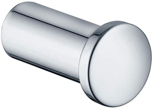KEUCO Handtuchhaken aus Metall, hochglanz-verchromt, rund, für Badezimmer und Gäste-Toilette, Wandhaken für Handtücher und Bademäntel, Plan