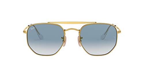 Ray-Ban RB3648 The Marshal Square Sunglasses, Gold/Blue Gradient, 54 mm