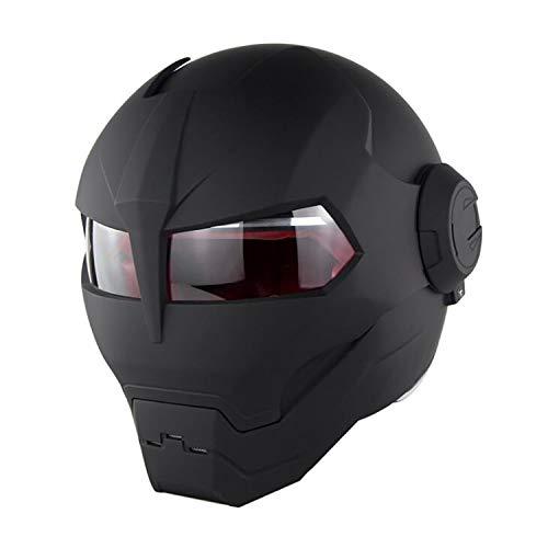 Adult Motorcycle Full Face Helmet Travel Motorcycle Helmet Black Retro Personality Helmet Men and Women Armor Open Face Motorcycle Helmet Street DOT Certification Open Face Motorcycle Helmet,1,L