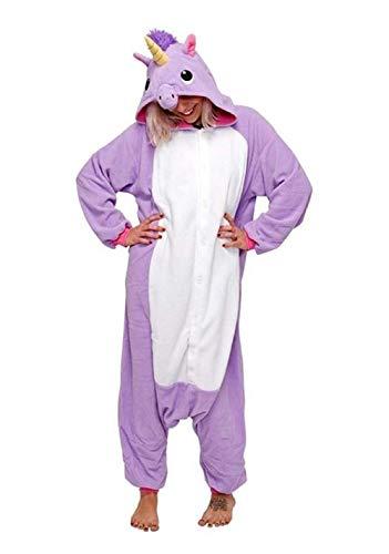 Anbelarui Tier Skelett Pinguin Dinosaurier Panda Einhorn Kostüm Damen Herren Pyjama Jumpsuit Nachtwäsche Halloween Karneval Fasching Cosplay Kleidung S/M/L/XL (XL, Lila Einhorn)