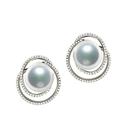 AMDXD Pendientes de oro blanco de 18 quilates para mujer, círculo con perlas de mar del sur de 12 mm, pendientes de boda, regalos de cumpleaños para novias y mujeres