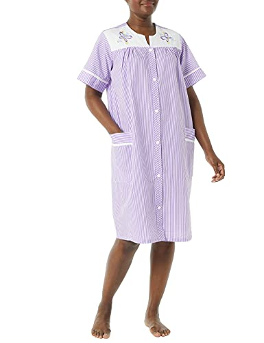 AmeriMark Women's Embroidered House Coat – Short Sleeve Dress with Front Pockets Lilac XL