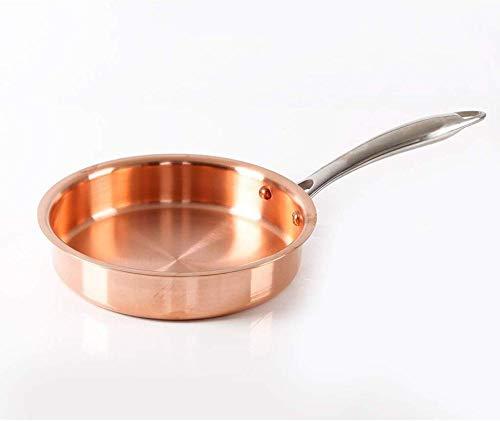 Koperen Koekenpan met Deksel Ongecoat Niet Stick Huishoudelijk 22CM Goud (Maat: 22cm)