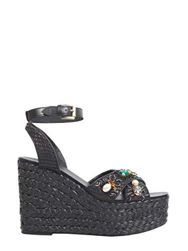 Ash Luxury Fashion Femme TULUM02 Noir Cuir Chaussures Compensées | Saison Outlet
