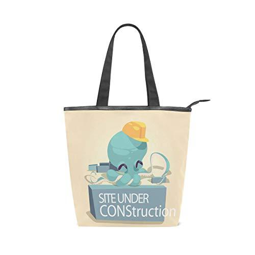 Bolsa de lona grande de diseño de pulpo de dibujos animados, bolsa de viaje, bolsa de hombro reutilizable para mujeres y niñas