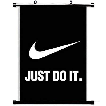 Cortina de ducha-decoración del hogar Art Hero juegos cartel con Nike Just Do It Oscuro Simple Minimal Logo Art Wall Scroll Poster Tela Pintura Baño Decoración 68x182 cm