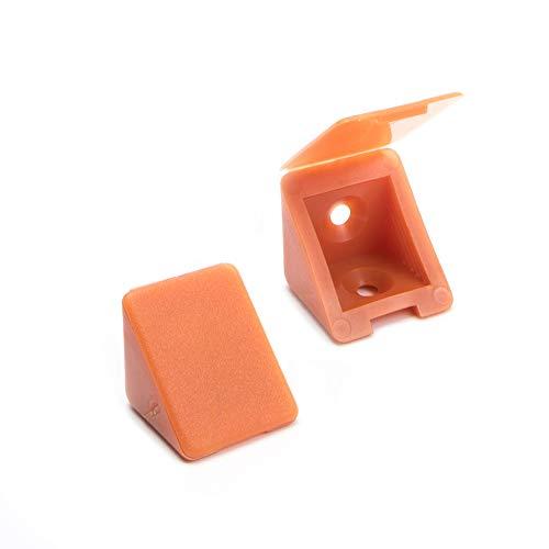 100 x sossai® Conector de muebles/conector angular con tapa | BT1, 2 agujeros | Color: calvados | Material: plástico