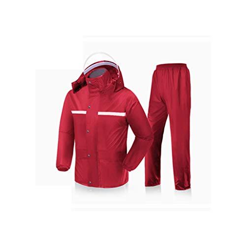 Goquik Regenjassen Regenjas Waterdicht Dubbellaagse warme regenbroek Windjas Waterdichte draagbare regenjas (zwart/rood/marine)