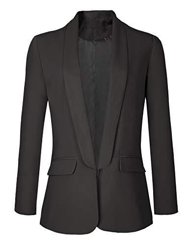 Urban GoCo Mujeres Blazers Chaqueta de Traje Slim Fit Elegante Oficina Negocios Outwear (S, Negro)