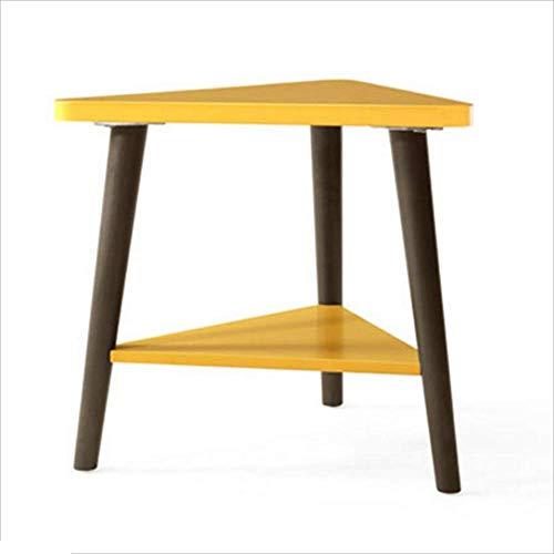 Axdwfd Table basse Table en bois massif jaune + Cadre triangulaire brun Table de rangement latérale pour canapé, couche latérale