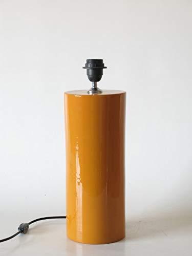 POLONIO Lámpara de Ceramica Sobremesa Median de Salon Color Amarillo de 35 cm E27, 60 W - Pie de Lámpara de Cerámica Mostaza - Jarron de Ceramica Amarillo