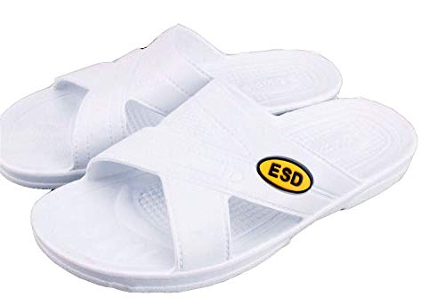 ESD Work Clean Room Lab Breathable and deodorant Anti-static Anti-skid Slippers,Quick Drying Bathroom Slippers,Industrial Home Dual-use Unlimited Folding Super Elastic.Woman (white, numeric_8_point_5)