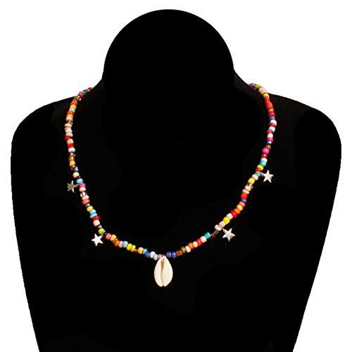 Jovono Boho coloridos collares de cuentas con colgante de concha de moda collar de estrella collar de cadena de joyería para mujeres y niñas (dorado)