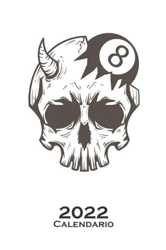 Cráneo con bola de billar Calendario 2022: Calendario anual para Aficionados al deporte de precisión con porra