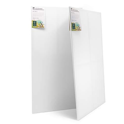 2er-Set 60x120cm Künstler-Leinwand Canvas zum Bemalen. Die Leere, weiße Leinwand aus 100% Baumwolle ist umlaufend aufgespannt auf FSC® Holz-Keilrahmen mit 17mm Stärke, 280g/m², 2-Fach weiß grundiert