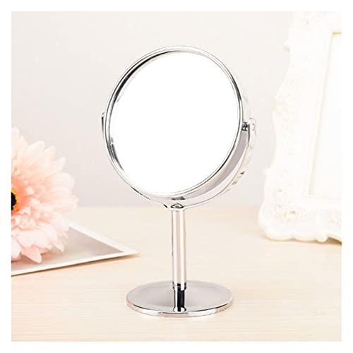 YINGBBH Espejo para maquillarse 1 unids Plata Escritorio Tipo Doble Lado cosmético Maquillaje Espejo con 1: 2 Función de Aumento de Vidrio Espejo cosmético