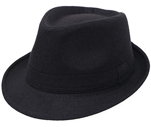 YoungLove Men's Classic Manhattan Structured Trilby Fedora, Black, Size One Size