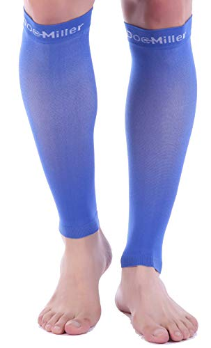 Doc Miller Calf Compression Sleeve 1 Pair 15-20 mmHg Firm Support Graduated for Sports Running Recovery Shin Splints Varicose Veins (Blue, XXL)