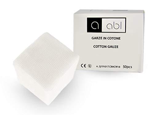 Garze non Sterili 10x10-50 Quadrati di Garza Idrofila in Cotone a 8 Strati - Non Sfilacciano - Tascabili