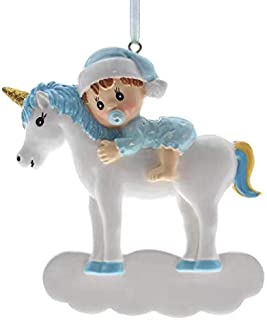 SMYER Unicorn Baby's First Christmas Ornaments 2019,Free Pen with Gifts Box Included,Made of Resin,Around 3.5-4Inch (Blue)