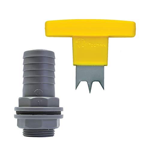 3P Technik Filtersysteme Tülle für 32 mm Schlauch inkl. Handbohrer für Regentonnen, Regenwassertonnen und Regenwassertanks