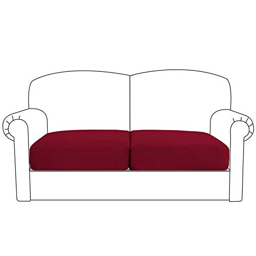 BellaHills High Stretch Cushion Cover Sofa Cushion Furniture Protector for Loveseat Seat Sofa slipcover Sofa Cover with Elastic Bottom(2 Pieces Cushion Covers, Burgundy)
