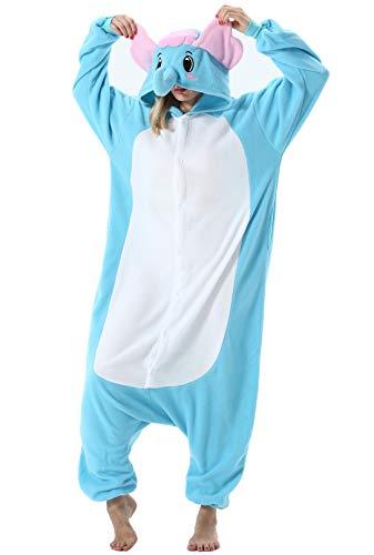 Pijama Animal Entero Unisex para Adultos con Capucha Cosplay Pyjamas Azul Elefante Ropa de Dormir Traje de Disfraz para Festival de Carnaval Halloween Navidad