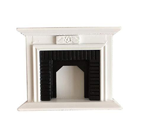 KoojawindMuebles para Casas de muñecas - 1/12 Muebles en Miniatura para Casas de muñecas Habitación multifunción Madera Vintage Negro Blanco Chimenea, Muñecas en Miniatura Accesorios, Pretendan