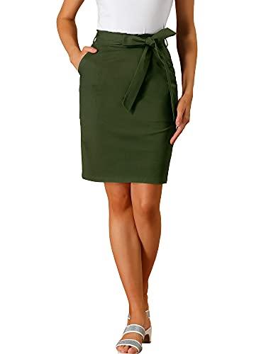Allegra K Women's Wear to Work Elastic Waist Cotton Side Pockets Zipper Pencil Skirt Medium Olive Green