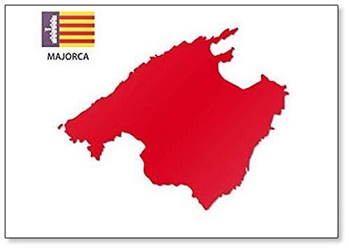 Majorca - Imán para nevera, diseño de mapa con bandera