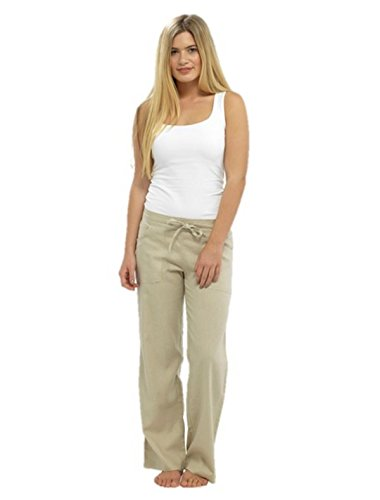 Tom Franks - Pantalones de lino con bolsillos para mujer beige piedra 46
