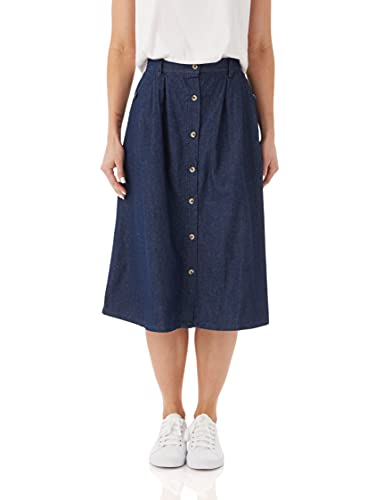 AmeriMark Women's Denim Button-Front Skirt – Cotton Midi Skirt w/Elastic Waist Dark Denim 14 Misses